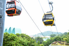 Excursão do teleférico do sentosa de Singapura imagens de stock