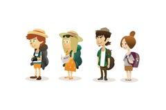 Excursão dos desenhos animados em todo o mundo ilustração do vetor
