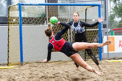Excursão europeia do handball da praia - finais Tessalónica 2016 do ebt Fotografia de Stock