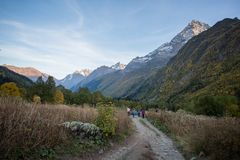 The excursion in the Alibek valley Stock Photos