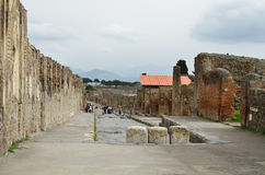 Excursion in the ancient city Pompeii Stock Photos
