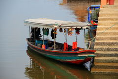 Excursion boat. Close up excursion boat on the Bang Pakong river royalty free stock photography
