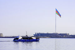 Excursion boat in Baku bay, Azerbaijan, March 8, 2017 Royalty Free Stock Photography
