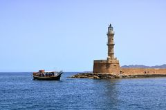 Excursion boat cruising Venetian harbour and mediterranean sea of Chania, Crete, Greece. Excursion boat cruising Venetian harbour and mediterranean sea of Chania stock images
