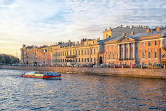 Excursion boat on the Fontanka River. Saint-Petersburg Stock Images