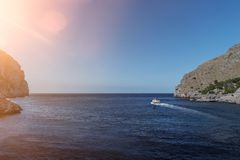 Excursion boat on mediterranean sea off the coast of Majorca Stock Photography