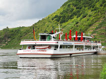Excursion boat near Beilstein town, Moselle river Stock Photos