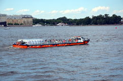 Excursion boat on the Neva river Royalty Free Stock Image