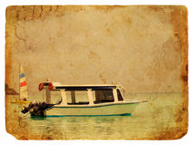 Excursion boat. Old postcard. Excursion boat. Old postcard, design in grunge and retro style Royalty Free Stock Image