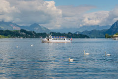 Excursion boat and swans in front of snow covered Alps mountains Stock Images
