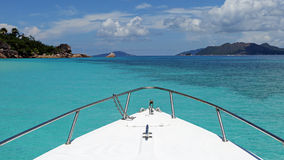 Excursion boat trip near Curieuse island , Seychelles. Excursion boat trip in turquoise waters near Curieuse island - Seychelles Stock Photography