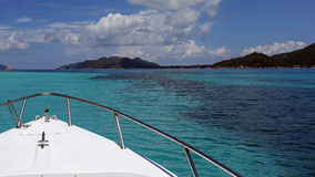 Excursion boat trip near Curieuse island , Seychelles. Excursion boat trip in turquoise waters near Curieuse island - Seychelles Royalty Free Stock Photography