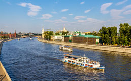 Excursion boats on Moscow river Stock Photography