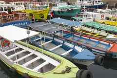 Excursion boats parked at the harbor in Valparaiso, Chile. Royalty Free Stock Photos