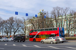 Excursion bus City Tour near State Hermitage Museum, St. Petersburg, Russia Stock Photo