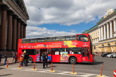 Excursion bus. ST. PETERSBURG, RUSSIA - MAY 7, 2017: Excursion bus near St. Isaac`s Cathedral Stock Images