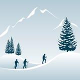Excursion de marche en hiver Photographie stock
