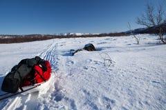 Excursion de ski sur le Kungsleden Photo libre de droits