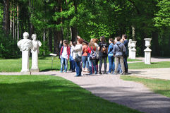 Excursion group in the Museum-Estate Arkhangelskoye. Moscow region, Russia Stock Photo