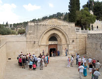 Excursion groups at an entrance to church of the Dormition of th Royalty Free Stock Images