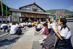 Excursion of an Japanese elementary school. KAGAWA, JAPAN - MAY 8, 2015: Excursion of an Japanese elementary school, Observation of important historical Stock Photo