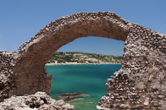 Excursion Kos Island. Paradise beach bridge spanning the sea Royalty Free Stock Photo