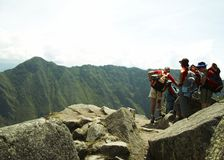 Excursion in Machu-Picchu city Stock Image