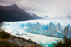 Excursion at the Perito Moreno Glacier. SANTA CRUZ, ARGENTINA – FEBRUARY 02, 2017:  Excursion at the famous Perito Moreno Glacier in Los Glaciares National Stock Image