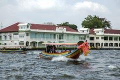 Excursion and pleasure boats sail on Chao Phraya river in Bangkok Royalty Free Stock Photos
