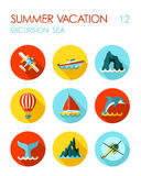 Excursion sea flat icon set. Summer. Vacation Stock Images