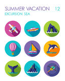Excursion sea flat icon set. Summer. Vacation Stock Image