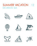 Excursion sea icon set. Summer. Vacation. Excursion sea outline vector icon set. Summer time. Vacation, eps 10 Royalty Free Stock Photos