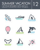 Excursion sea icon set. Summer. Vacation Stock Images