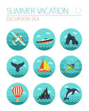 Excursion sea icon set. Summer. Vacation Stock Photography