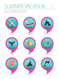 Excursion sea pin map icon set. Summer. Vacation Royalty Free Stock Photo