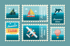Excursion sea stamp set. Summer. Vacation Stock Photo