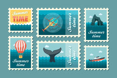 Excursion sea stamp set. Summer. Vacation Royalty Free Stock Photo