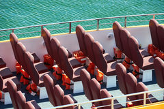 Excursion ship with empty seats expect passengers Stock Photo