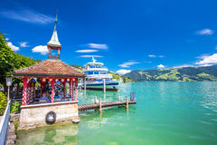 Excursion ship at famous Lake Zug on a sunny day, Switzerland Royalty Free Stock Images