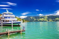 Excursion ship at famous Lake Zug on a sunny day, Switzerland Royalty Free Stock Photo