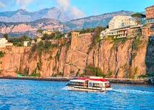 Excursion ship at Port of Marina Grande in Sorrento. Tyrrhenian sea, Amalfi coast, Italy Stock Photography
