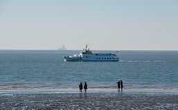 Excursion ship on the Schleswig-Holstein North Sea stock image