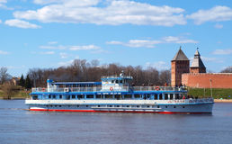 Excursion ship on the Volhov river Royalty Free Stock Image