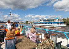 Excursion ship on the Volhov river in Veliky Novgorod Stock Photos