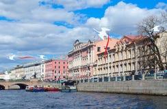 Excursion ships on Fontanka River near Anichkov Bridge, St. Petersburg, Russia Royalty Free Stock Photo
