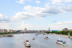 Excursion ships in Moskva Rive, Moscow Royalty Free Stock Photo