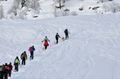Excursion on the snow. Valsesia Alps in winter, excursion on the snow Stock Images