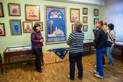 Excursion to the Museum of Torzhok gold embroidery factory. Royalty Free Stock Images