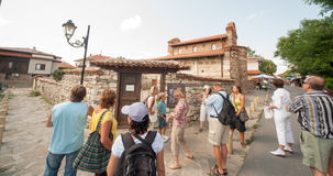 Excursion to the streets of the old town of Nessebar Royalty Free Stock Images