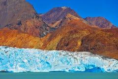 Excursion to the white-blue glacier Stock Photo
